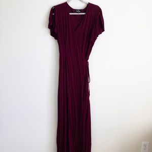 Lulus large burgundy wrap style dress